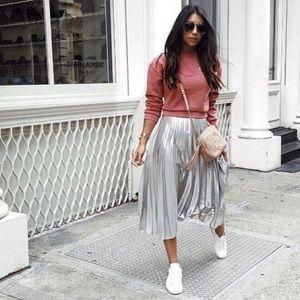 Zara Silver Metallic Pleated Skirt